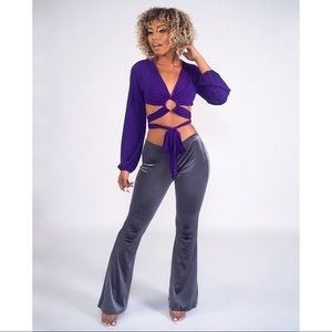 Purple Wrap crop top with o-ring and bell sleeves